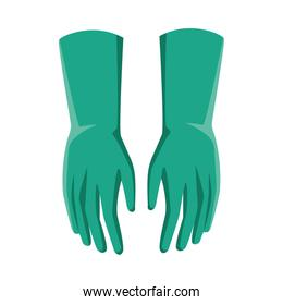 rubber gloves line style icon