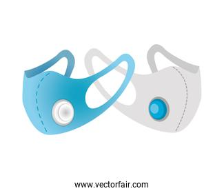 blue and gray medical masks protection accessories line style icon