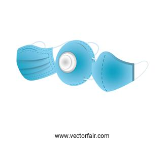 blue medical masks protection accessories line style icon