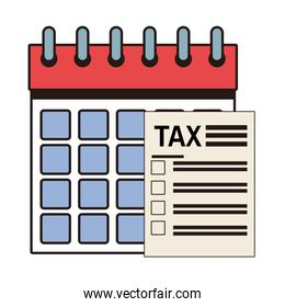tax financial document paper with calendar