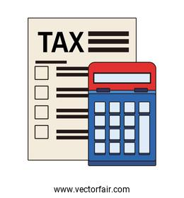 tax financial document paper with calculator
