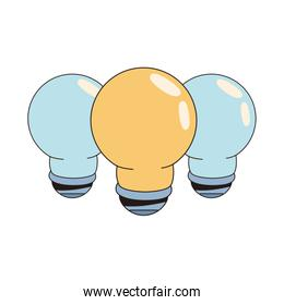 set bulbs lights idea isolated icons