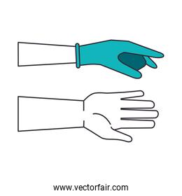 hands human with rubber gloves mode using infographic