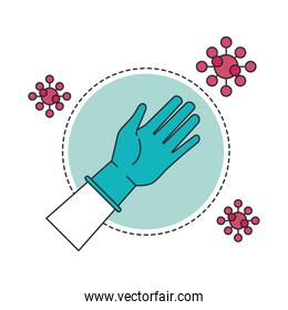 hand with rubber glove medical protection and covid19 particles