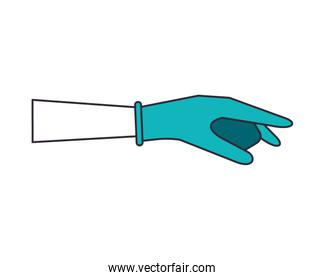 hand with rubber glove medical protection accessory