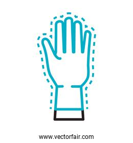 hand with rubber glove line style icon