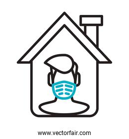 man using face mask in house line style icon