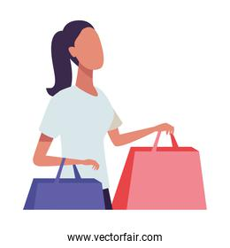 youth woman fashion wear with shopping bags character