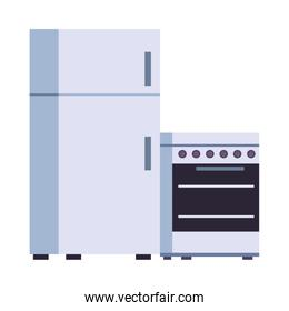 fridge and oven kitchen appliances isolated icon