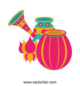indian lamp with cornet and pot