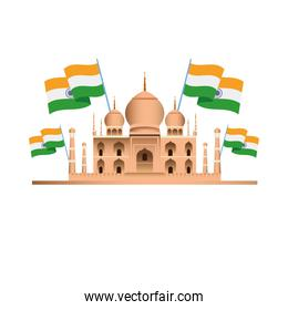 india country flags with taj mahal