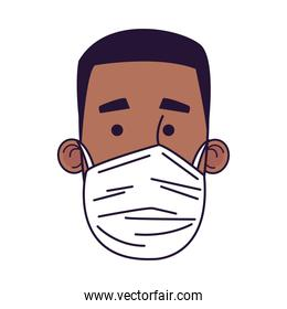 young afro man wearing medical mask head character