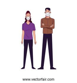 young couple wearing medical masks characters