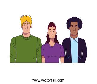 group of young people interracial characters