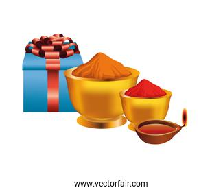 gift with powders colors and candle holi party celebration