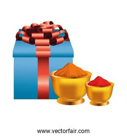 powders colors with gift holi party celebration