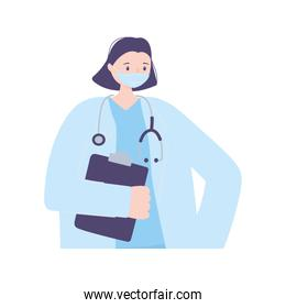female doctor character with protetive mask stethoscope and medical report, coronavirus covid 19