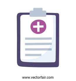 medical care clipboard report isolated design icon