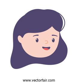 female face woman young character isolated design icon
