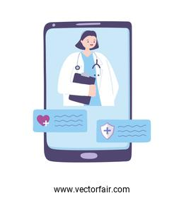telemedicine, smartphone female doctor chatting consult, assistance online