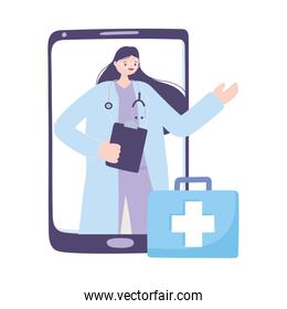 telemedicine, female doctor clipboard and suitcase, smartphone remote consultation treatment and online healthcare services