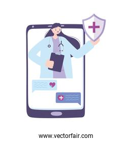 telemedicine, female doctor smartphone consultation chatting, remote treatment and online healthcare services