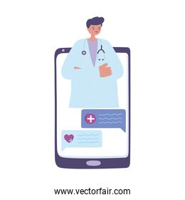 telemedicine, smartphone doctor online support, treatment and online healthcare services