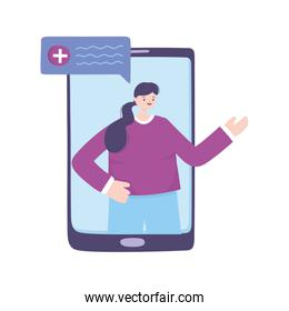 telemedicine, smartphone patient remote professional consultation a doctor