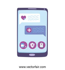 telemedicine, smartphone chatting consultation, medical treatment and online healthcare services