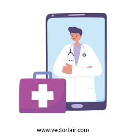 telemedicine, male doctor suitcase, smartphone remote consultation treatment and online healthcare services