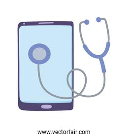 telemedicine, smartphone stethoscope diagnostic, remote consultation treatment and online healthcare services