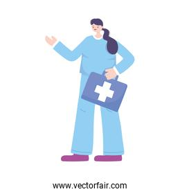telemedicine, female doctor with kit first aid medical treatment and online healthcare services