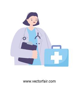 female doctor character with stethoscope and medical report