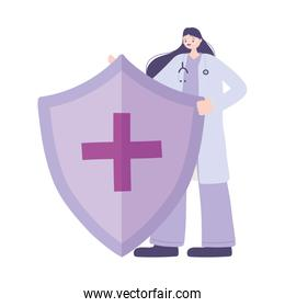 telemedicine, female doctor shield medical treatment and online healthcare services