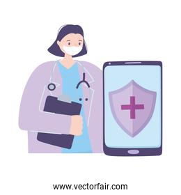 telemedicine, doctor and smartphone medical treatment and online healthcare services
