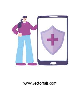 telemedicine, patient woman smartphone medical treatment and online healthcare services