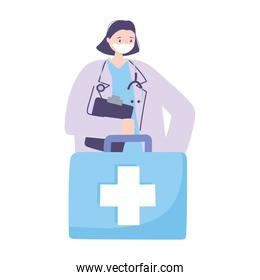 telemedicine, female physician and kit medical treatment and online healthcare services