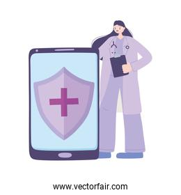 telemedicine, female doctor smartphone medical treatment and online healthcare services