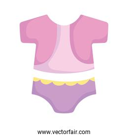 baby shower, little clothes trendy, announce newborn welcome isolated design icon