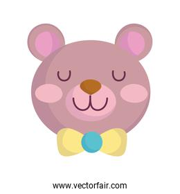 baby shower, teddy bear toy, announce newborn welcome isolated design icon