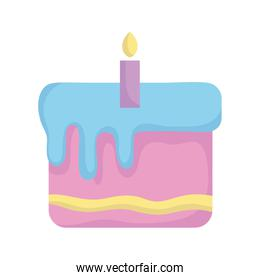 baby shower, sweet cake with candle, announce newborn welcome isolated design icon