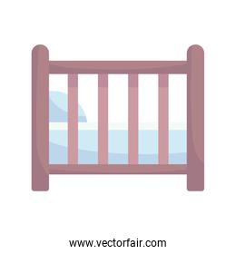 baby shower, wooden crib with pillow, announce newborn welcome isolated design icon