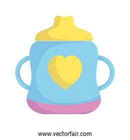 baby shower, cup feeding with heart, announce newborn welcome isolated design icon