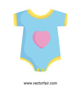 baby shower, bodysuit with heart, announce newborn welcome isolated design icon