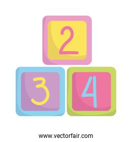 baby shower, cubes with numbers toys, announce newborn welcome isolated design icon