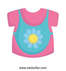 baby shower, clothes dress with bib, announce newborn welcome isolated design icon