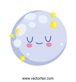 baby shower, cartoon moon sleep, announce newborn welcome isolated design icon