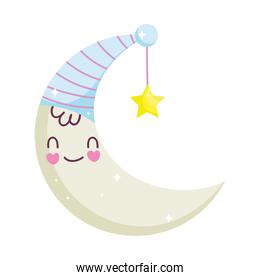 baby shower, half moon with hat and star cartoon, announce newborn welcome isolated design icon