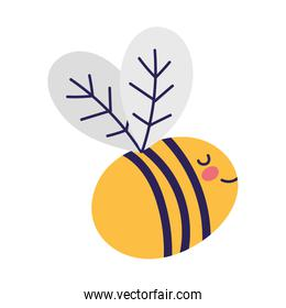 cute bee insect little animal cartoon isolated design icon
