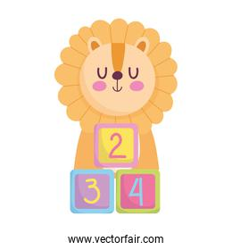 baby shower, tiger with cubes toys cartoon, announce newborn welcome card